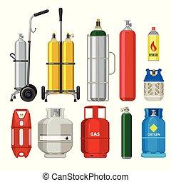 シリンダー, cylinders., タンク, プロパン, ガス, 金属, ベクトル, 道具, ブタン, イラスト, 駅, ヘリウム, アセチレン, 石油