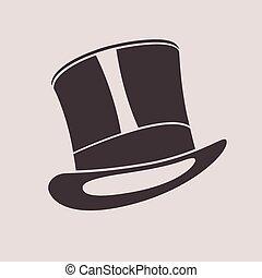 シリンダー, illustration., 型, 上, 紳士, hat., 帽子