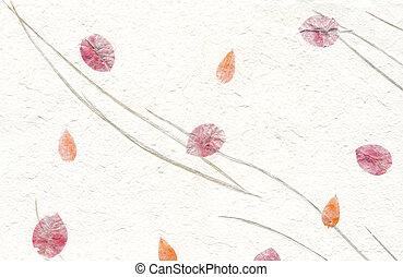 シリーズ, -, 手ざわり, ペーパー, 白い花