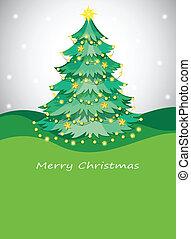 シリーズ, 木, 光っていること, ライト, 緑, クリスマス