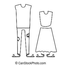 シルエット, ∥で∥, 対, 衣類, pijamas