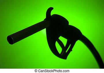 シルエット, に対して, ポンプ, 緑の背景, 燃料