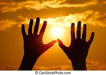 シルエット, に対して, 手, オレンジ, close-up., sunset.