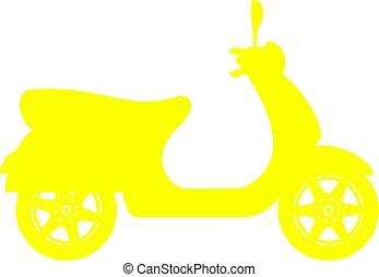 シルエット, の, スクーター, 中に, 黄色, デザイン