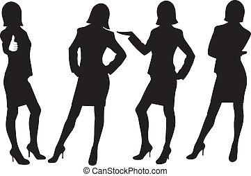 シルエット, の, ビジネス, 女性
