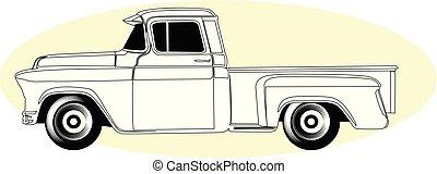 シルエット, の, レトロ, 積み込みの トラック, -, 型, アメリカ人, ピックアップ, サイド光景