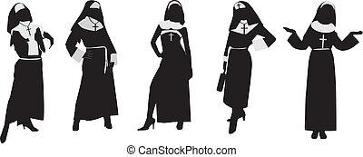 シルエット, の, 修道女