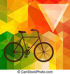 シルエット, の, ∥, 古い自転車, 上に, a, カラフルである, モザイク, 背景, 作られた, の, 三角形, shapes.