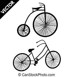 シルエット, の, ∥, 古い, bicycles