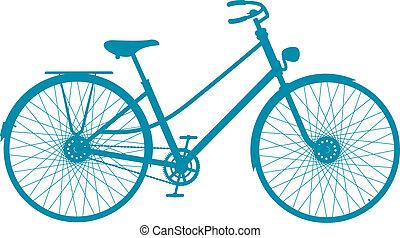 シルエット, の, 型, 自転車