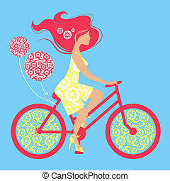 シルエット, の, 美しい, 女の子, 上に, 自転車