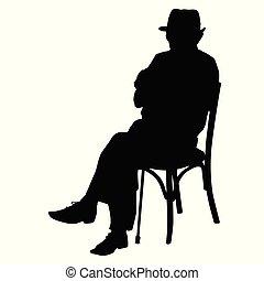 シルエット, の, ∥, 老人, ∥で∥, a, 杖, モデル 椅子