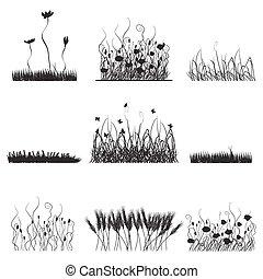 シルエット, の, 草, 花, そして, 蝶