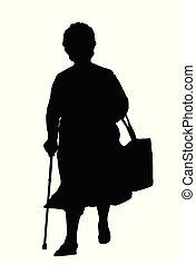 シルエット, の, a, 古い 女性, ∥で∥, 杖