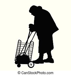 シルエット, の, a, 古い 女性