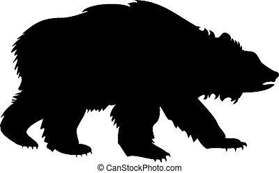 シルエット, の, a, 熊