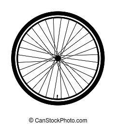 シルエット, の, a, 自転車車輪