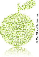 シルエット, アップル, eco, パターン, 緑, 行きなさい