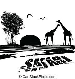 シルエット, アフリカ, 2, キリン