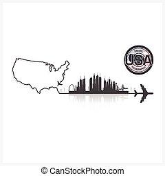 シルエット, アメリカ, 建物, 州, 合併した, 背景, スカイライン