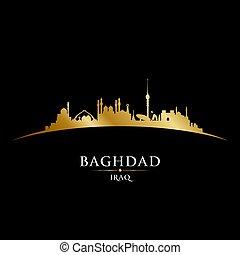 シルエット, イラク, 黒い背景, スカイライン, 都市, バグダッド