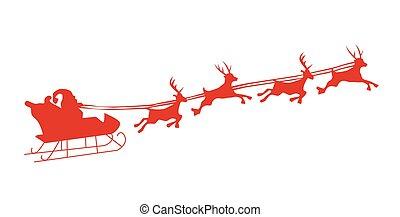 シルエット, イラスト, の, 飛行, santa, そして, クリスマス, トナカイ