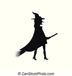 シルエット, イラスト, ベクトル, 魔女, 背景, 白, ほうきの柄