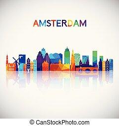 シルエット, カラフルである, スカイライン, アムステルダム, 幾何学的, style.
