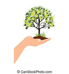 シルエット, カラフルである, 上に, 木, 手, 葉が多い