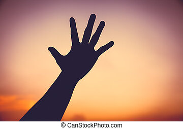 シルエット, カラフルである, 空, 手, バックグラウンド。, 日没