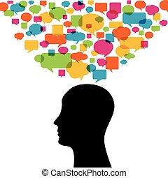シルエット, カラフルである, 考え, 考え, 泡, 人