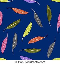 シルエット, カラフルである, collection., seamless, パターン, 羽