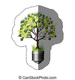 シルエット, カラフルなライト, ステッカー, 木, 基盤, 電球, 葉が多い