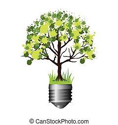 シルエット, カラフルなライト, 木, 基盤, 電球, 葉が多い