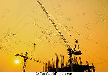 シルエット, クレーン, サイト, 建設, 背景, 図画