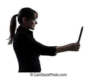 シルエット, コンピュータ, デジタル, 計算, 女性ビジネス, タブレット