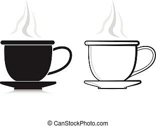 シルエット, コーヒー, デザイン, elemen, カップ