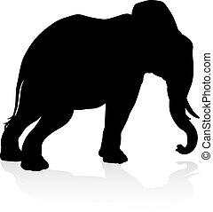シルエット, サファリ, 動物, 象
