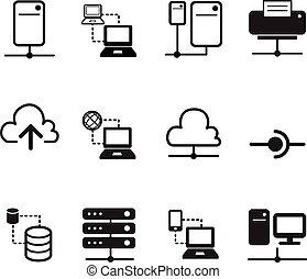 シルエット, システム, ネットワークサーバー, 雲, データ, アイコン, 共有