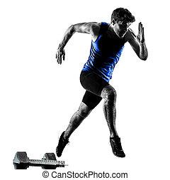 シルエット, スプリント, ランナー, スプリンター, 動くこと, 運動競技, 人, isola
