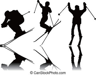 シルエット, スポーツ, スキー