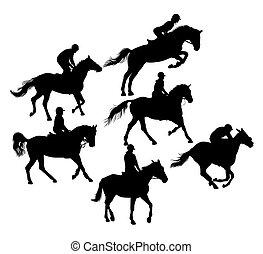 シルエット, スポーツ, 乗馬者