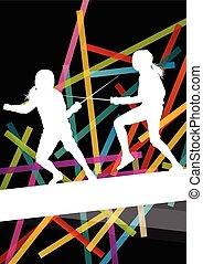 シルエット, スポーツ, 男性, 背景, 女性, 活動的, イラスト, 抽象的, フェンシング, 若い