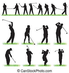シルエット, セット, ゴルフ