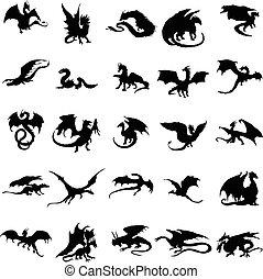 シルエット, セット, ドラゴン