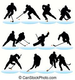 シルエット, セット, ホッケー, 氷