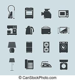 シルエット, セット, 器具, 家庭のアイコン
