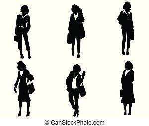 シルエット, セット, 女性