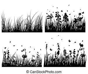 シルエット, セット, 牧草地