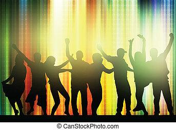 シルエット, ダンス, 人々